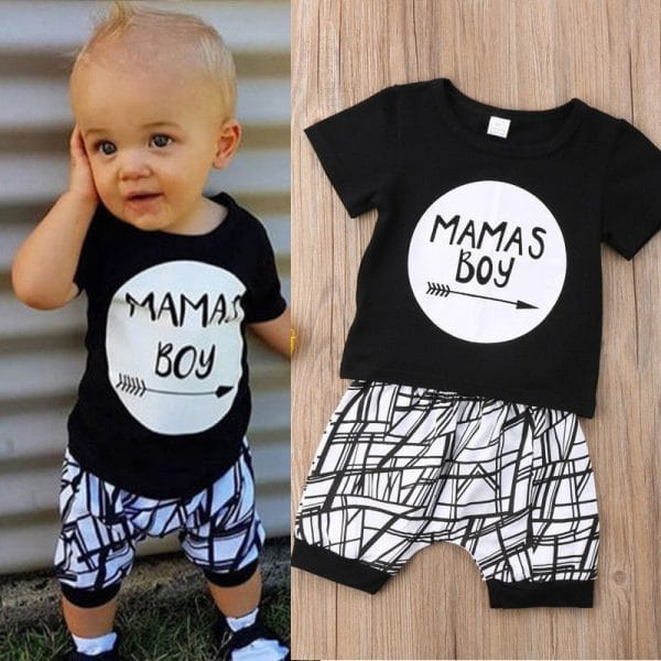 Baby Boy T-shirt and striped pants